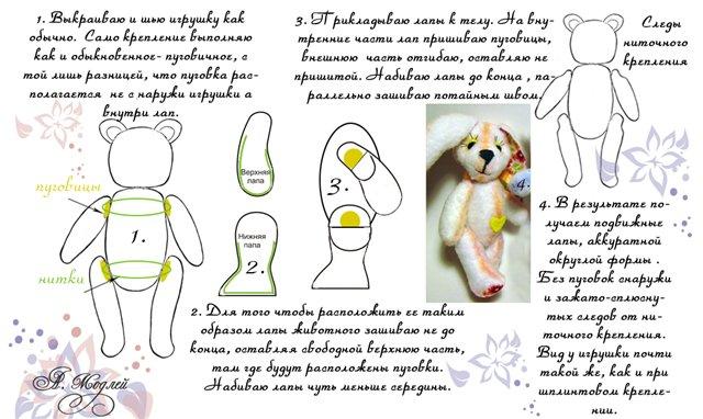Амигуруми, вязаные игрушки, пуговичное крепление лап игрушки