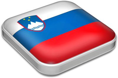 Flag of Slovenia with metallic square frame