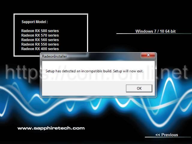 "Cara mengatasi error instalasi driver VGA Radeon ""Setup has detected an incompatible build. Setup will now exit"""