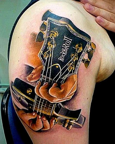 Guitar tattoo awesome 3D effect  3D on Thee TaTda   Pinterest