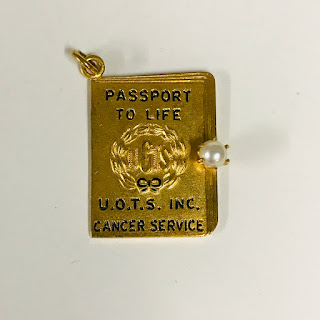 14K Gold and Pearl Passport Pendant