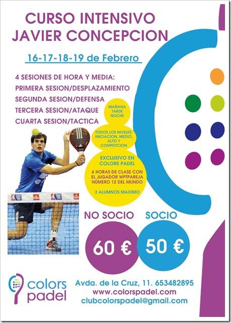 Entrena con Javier Concepción jugador WPT del 16-19 Febrero 2016 en Colors Padel Almería.