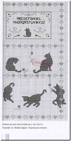 siluetas gatos punto de cruz monocromo  (8)