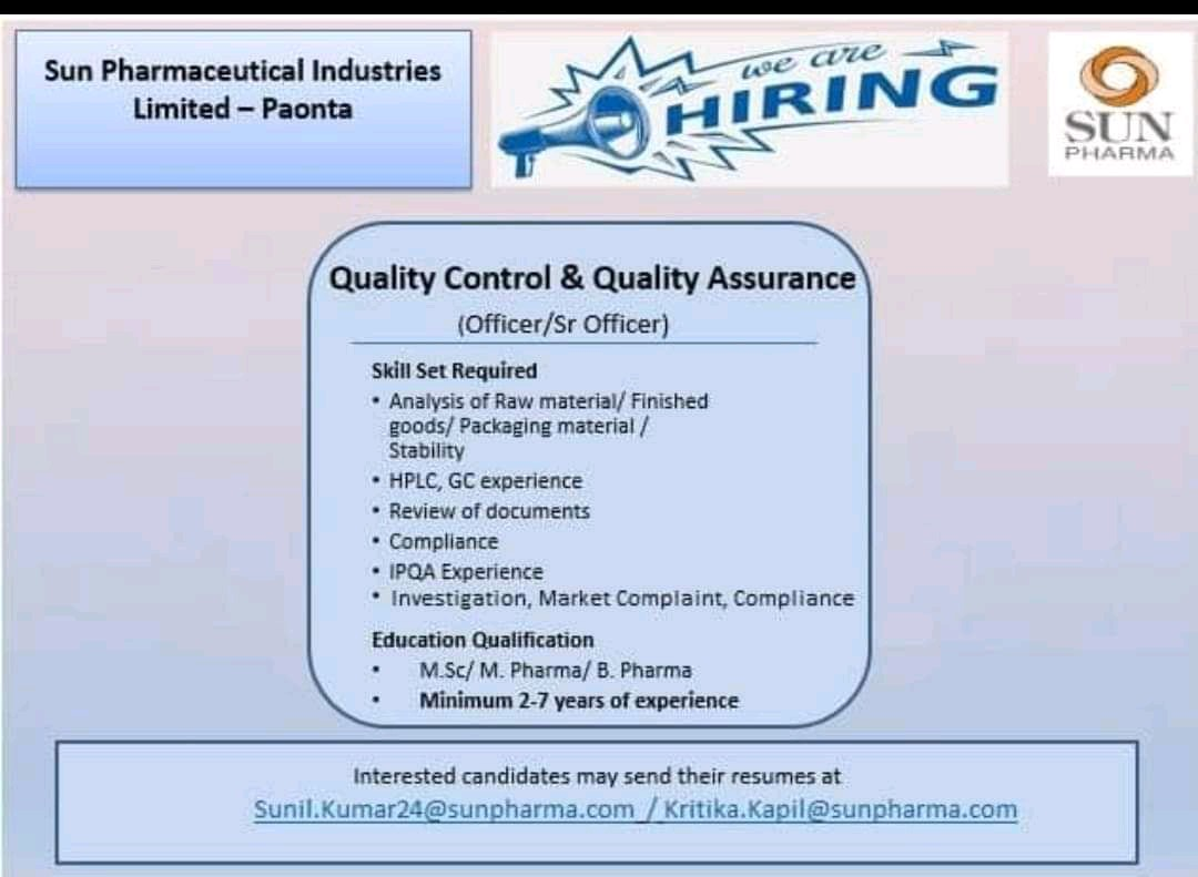 Opening At Sun Pharmaceuticals For Quality Assurance & Quality Control Department