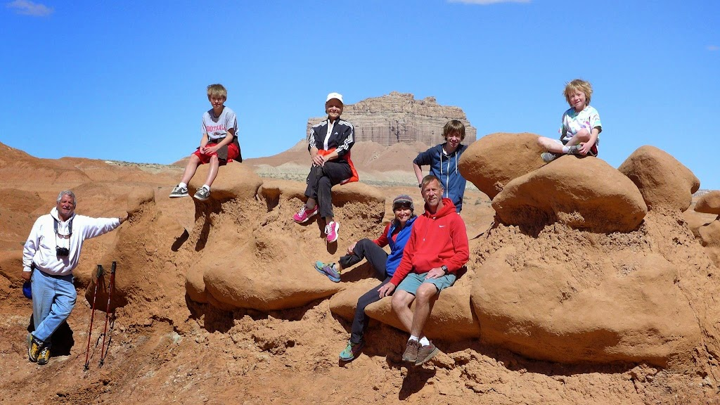 Shelli with her family, and her parents, during a spring break camping trip to Goblin Valley, Utah, a favorite family destination for spring break.
