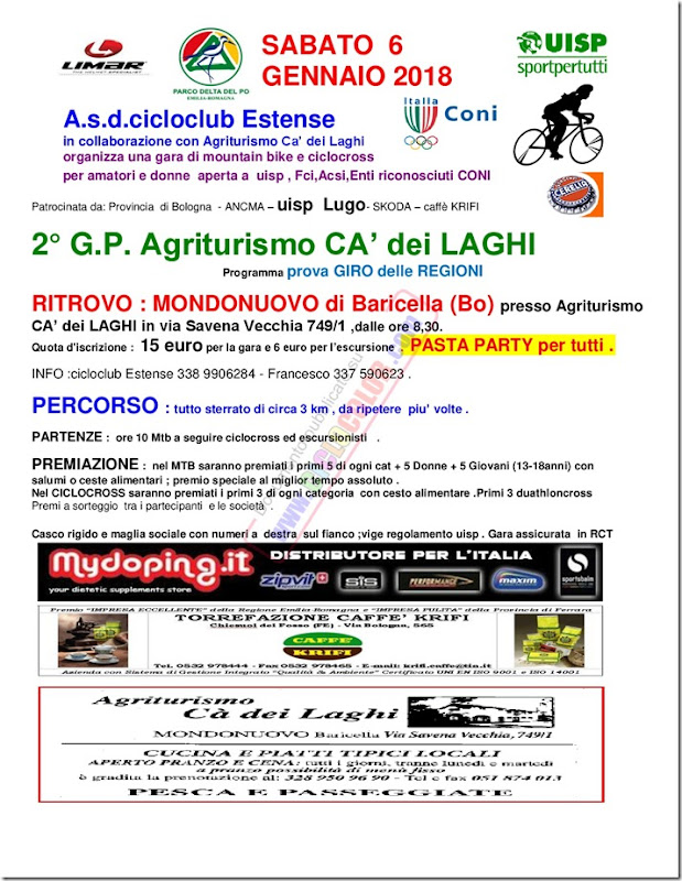 MTB Agriturismo CA' dei Laghi a MONDONUOVO di Baricella (Bo) sab 6 GENNAIO 2018-001