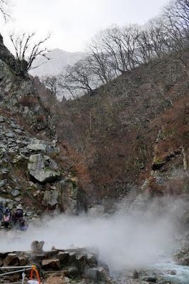 Approaching the hot spring where the snow monkeys bathe to warm up at Jigokudani Monkey Park