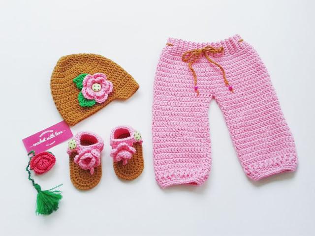 Crochet Baby Pants, Crochet Baby Hat, Celana rajut, celana rajut bayi, celana bayi rajut, topi rajut bayi, topi rajut, topi bayi, sandal rajut, sandal rajut bayi, sandal bayi, rajutan bayi