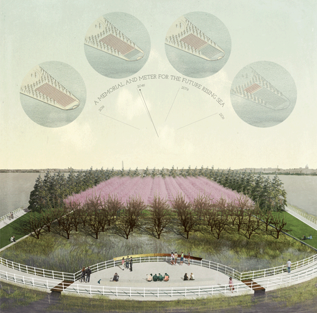 'Climate Chronograph', proposed by Azimuth Land Craft members Erik Jensen and Rebecca Sunter, is a finalist for the National Park Service (NPS) competition, 'Memorials for the Future'. 'Climate Chronograph' is a living observatory wherein rising seas incrementally flood cherry trees to author bare-branched delineations of shorelines past. Continually rewritten by the object of contemplation itself, the memorial is a record of the challenges before us, a public witness to our vulnerability and response. Graphic: Azimuth Land Craft / National Park Service