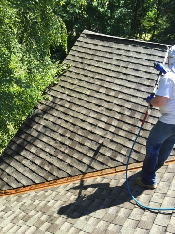Shaboo CT Cleaning LLC: Power washing roof and patio