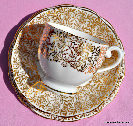 Queen Anne gold floral vintage china teacup trio