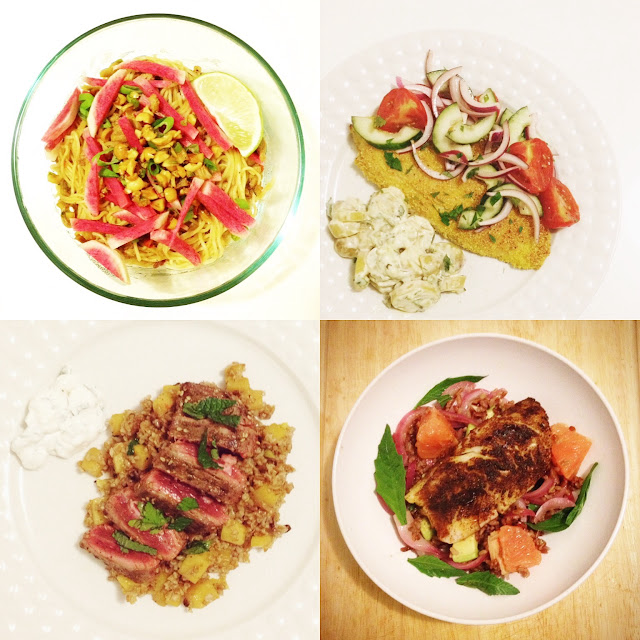 My Blue Apron meals: Pork Dan Dan Noodles, Za'atar-spiced Steaks with rutabaga-barberry tabbouleh and labneh, crispy catfish
