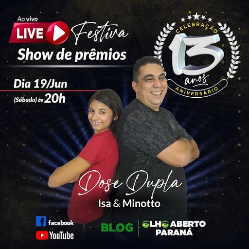 13 anos do Blog Olho Aberto terá live festiva com Show de prêmios