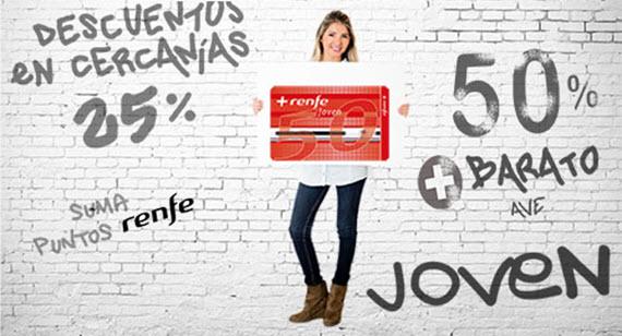 Nueva tarjeta '+Renfe Joven 50' con descuentos de hasta el 50%