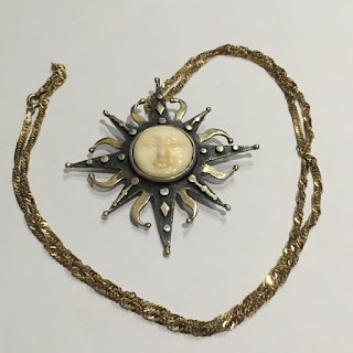 Sterling Silver Sun Pendant On Sterling Silver Chain