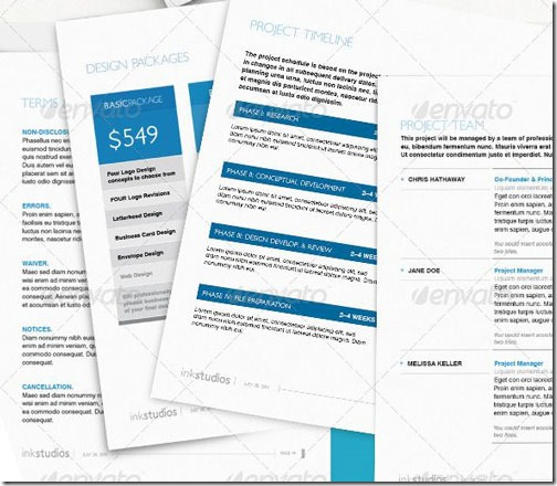 Plantilla para proyecto de negocio limpia, muy completa (30 páginas, tablas, precios, etc), para Word o InDesign