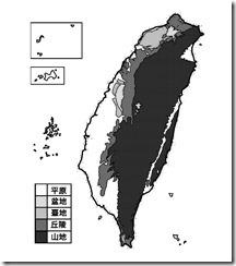 臺灣地形分布圖_黑白