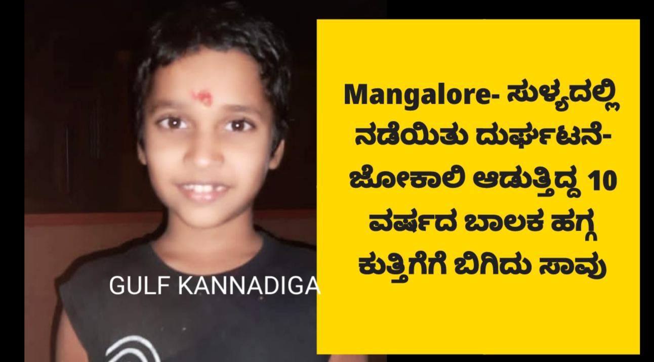 Mangalore- ಸುಳ್ಯದಲ್ಲಿ ನಡೆಯಿತು ದುರ್ಘಟನೆ- ಜೋಕಾಲಿ ಆಡುತ್ತಿದ್ದ 10 ವರ್ಷದ ಬಾಲಕ ಹಗ್ಗ ಕುತ್ತಿಗೆಗೆ ಬಿಗಿದು ಸಾವು