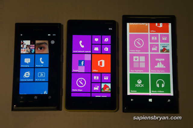 Side by side: Nokia Lumia 800, 820 & 920