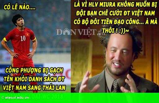 """Hình 2:  Ảnh chế: Tiền đạo ĐT Việt Nam là """"công-công""""? Không thể nào!"""
