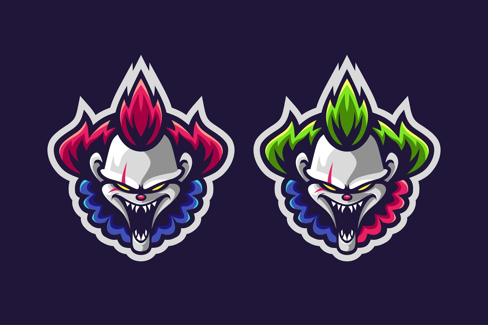 Clown Mascot Logo Option Color Free Download Vector CDR, AI, EPS and PNG Formats