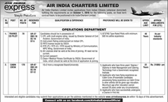 Air India Charters Limited Trainee Co Pilot Jobs 2016