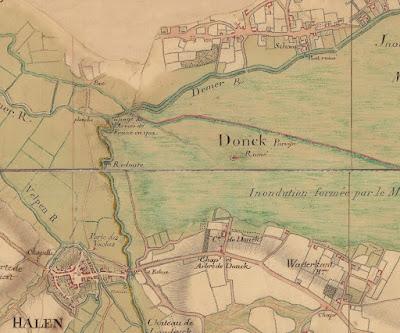 1748: Villaret, motte 'ruiné' in het door de Demer overstroomde moeras