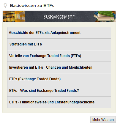 Basiswissen ETF Übersicht bei GodmodeTrader