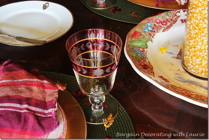 Vintage Stemware for Thanksgiving Table