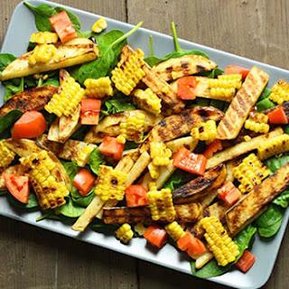 Corn, Tomato, Potato & Baby Spinach Salad.