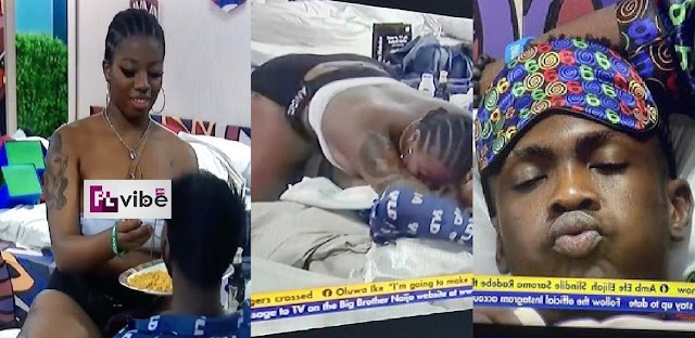 BBNaija 2021: Drunk Angel Sεductively Spoon Feed Yousef After Rejecting Sammie, Housemates Reacts [Video]