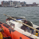 The towed yacht alongside the ILB opposite Poole Quay Boat Haven - 17 October 2014.  Photo credit: RNLI/Poole