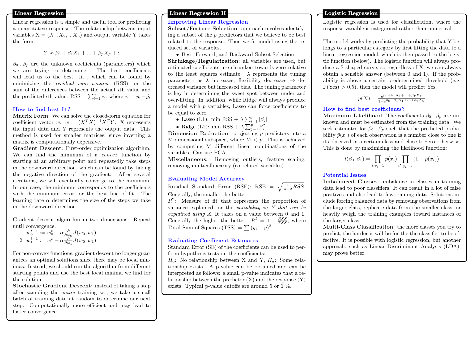 Machine Learning and Data Science Cheatsheets PDF
