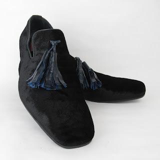 Mauri Black Velvet Sheriff Collection Tassel Loafers