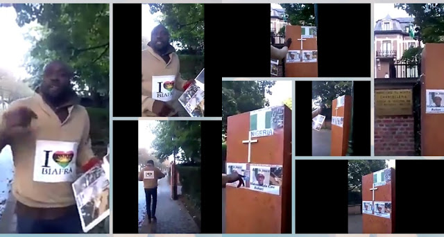 IPOB Member Places Casket For President Buhari At Nigerian Embassy In Belgium