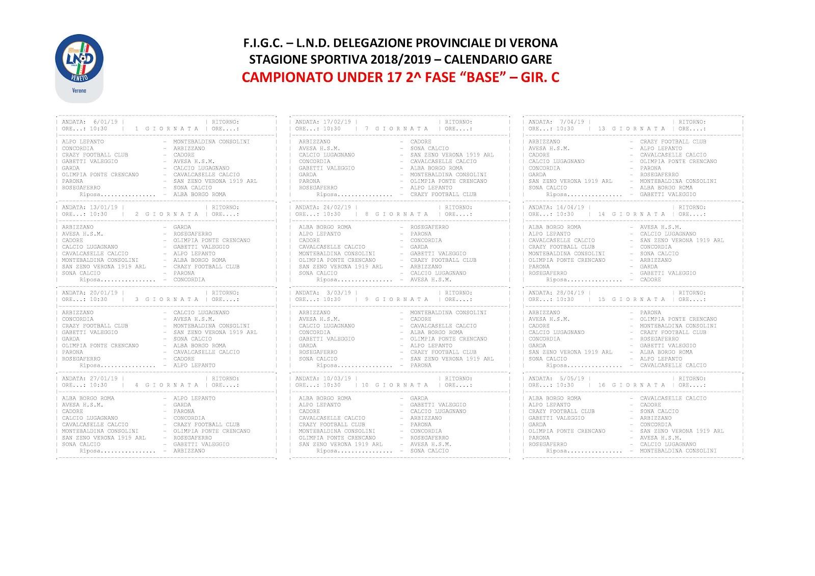 Calendario Under 17.Calendario Under 17 Seconda Fase Girone C Ahsm 1911