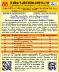 CWC Recruitment 2016-17 Advertisement