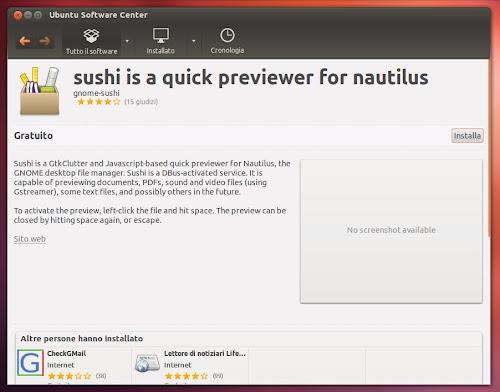 Gnome Sushi 0.4.1 su Ubuntu 12.04 - USC