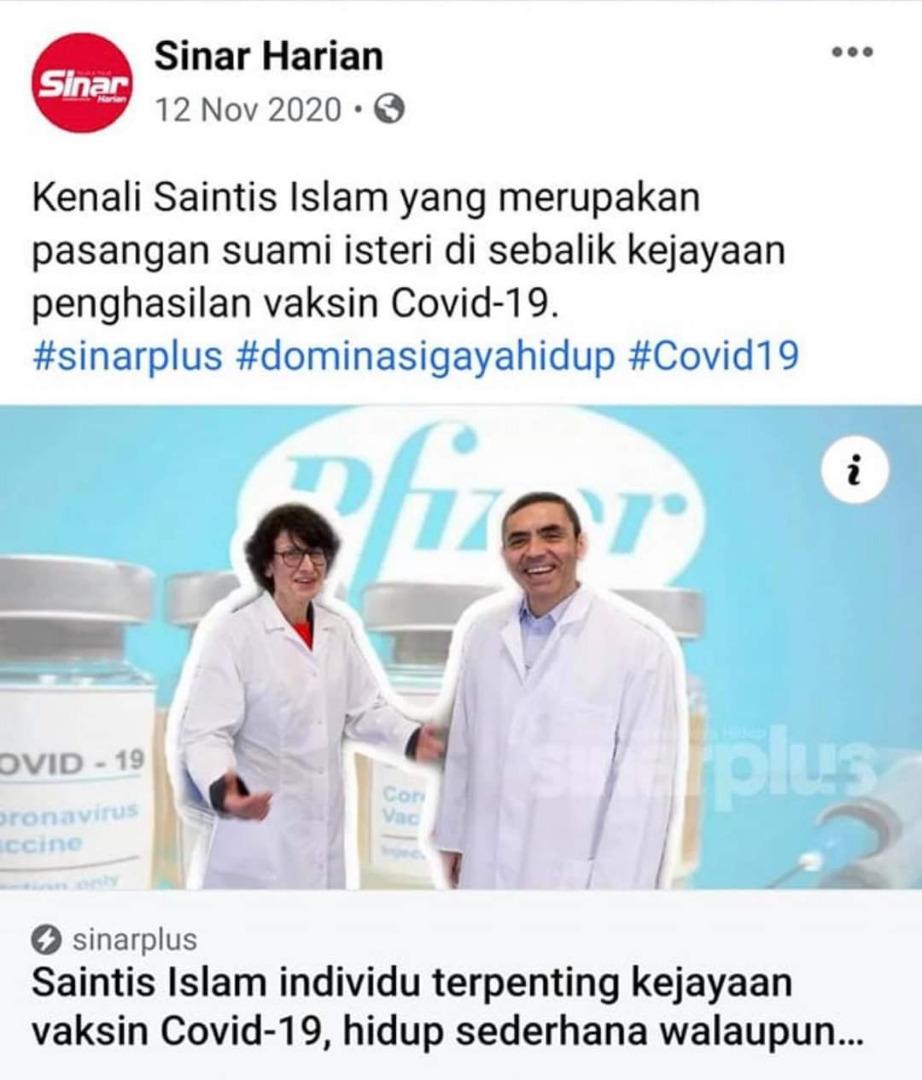 Kenali pencipta vaksin Pfizer-BioNTech, pasangan suami isteri Muslim dari Turki.