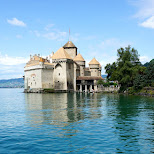 Chillon Castle in Switzerland from the water in Veytaux, Vaud, Switzerland