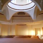 Evening sunlight illumines the prayer hall