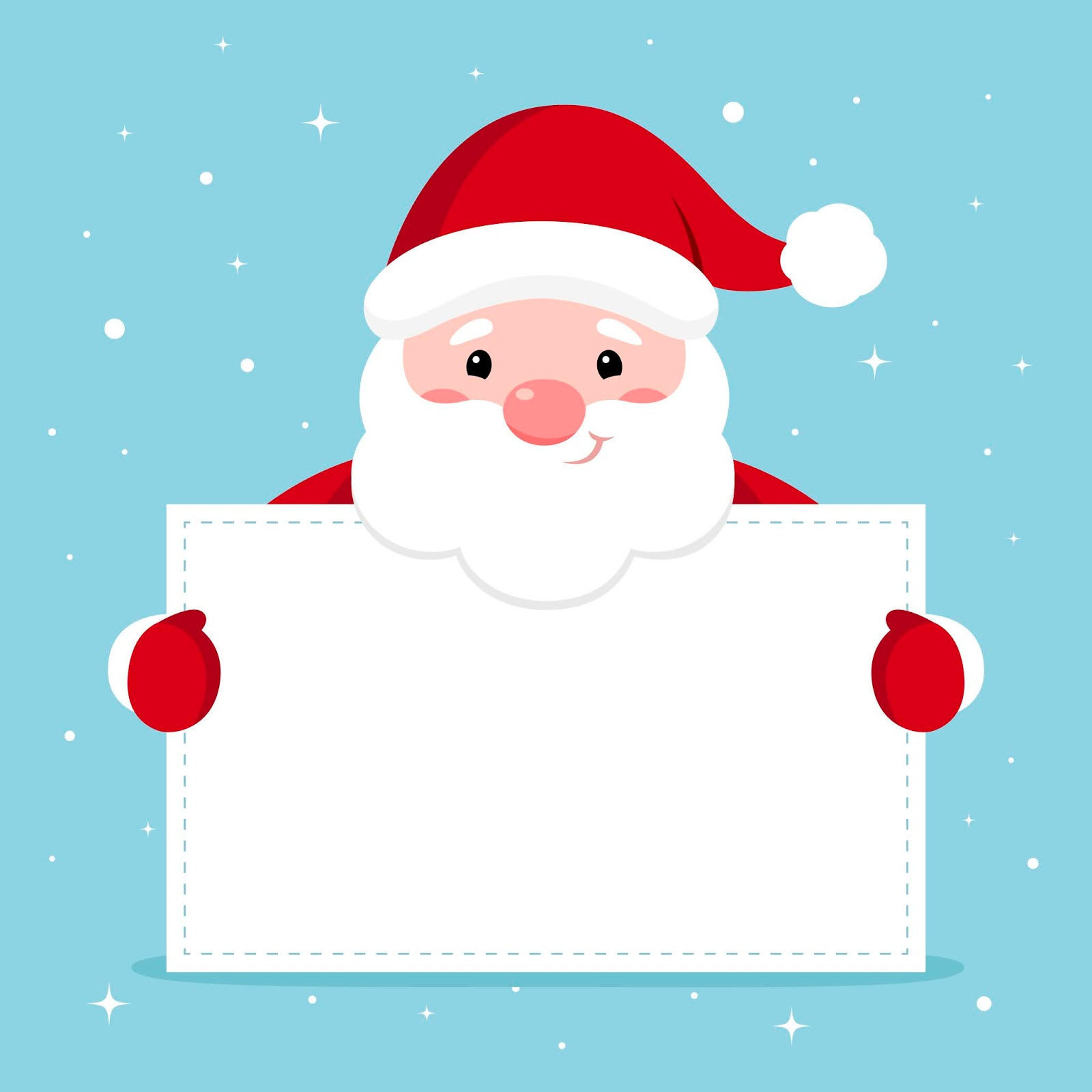 Vector Xmas Illustration Funny Santa Holding Blank Paper With Copyspace Text Free Download Vector CDR, AI, EPS and PNG Formats