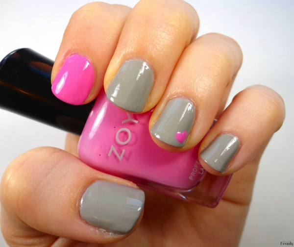 Pink  Grey Valentine s Day Nails Zoya Dove Zoya Shelby 1