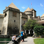 Chillon Castle in Switzerland in Veytaux, Vaud, Switzerland