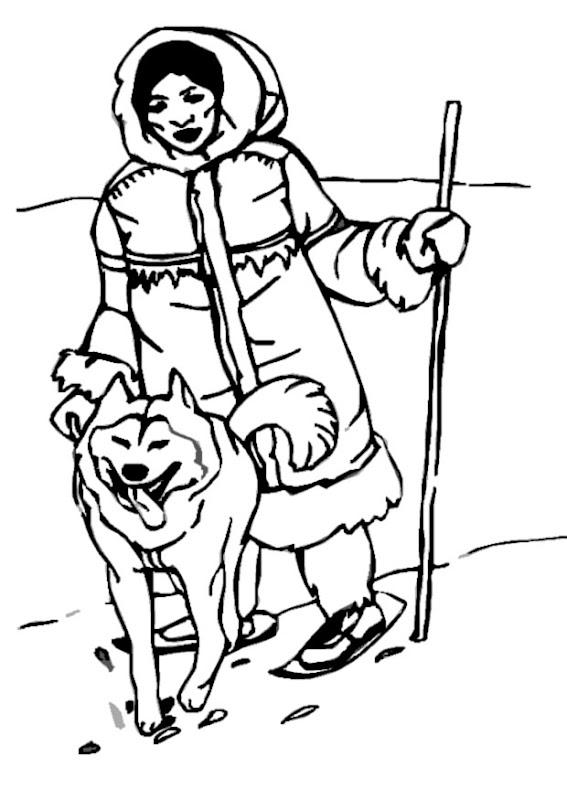 Esquimal y lobo para colorear
