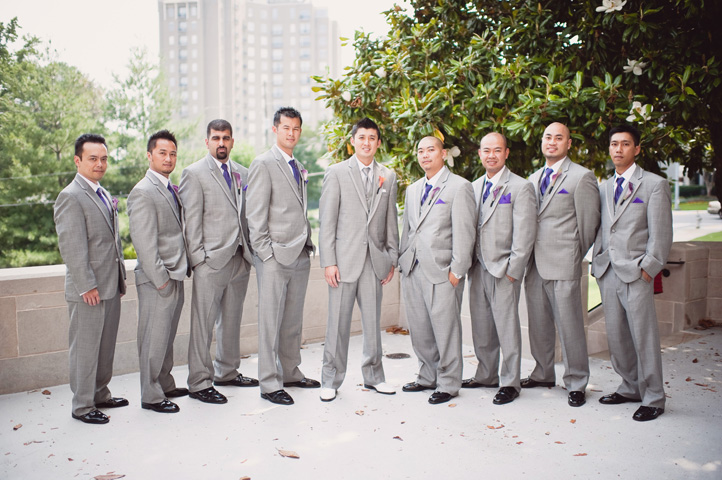 gray groomsmen tuxes