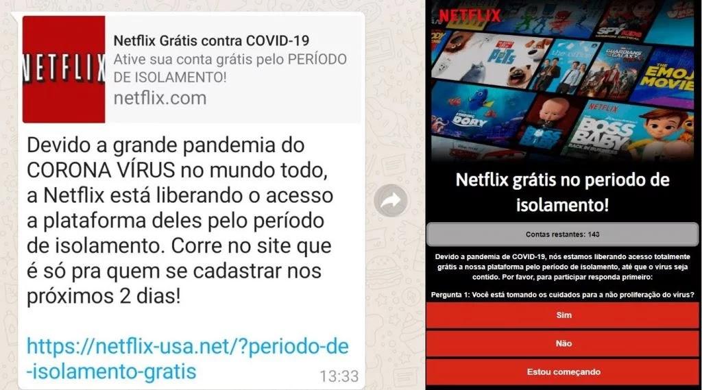 Golpe Netflix grátis Whatsapp