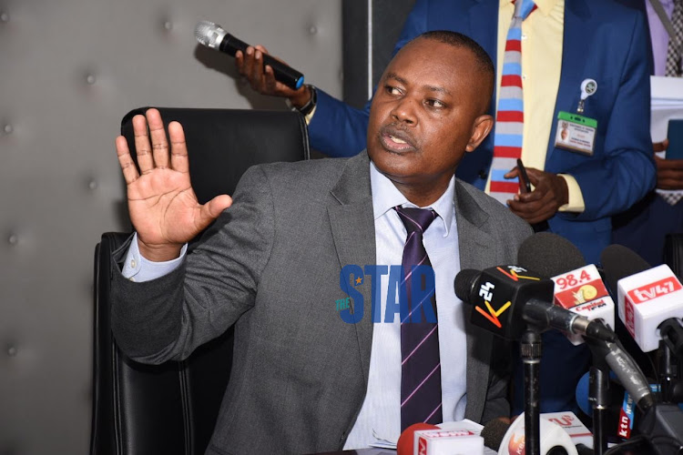 DCI George Kinoti explaining how Kenei's murder was carried out at DCI headquarters on March 5 2020/ MERCY MUMO