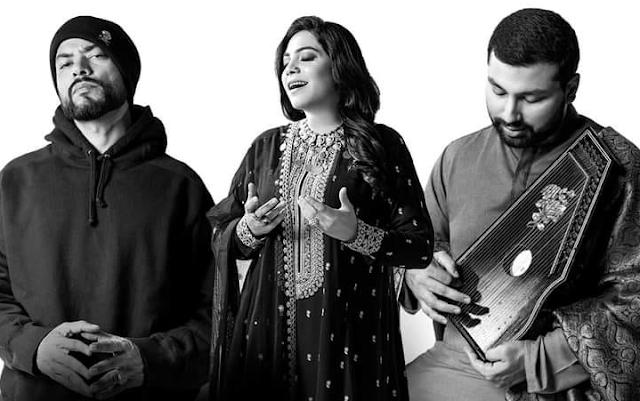 Bohemia, Sanam Marvi, and Mohammad Aizaz Sohail in Coke Studio 2020 finale.