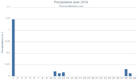Thornton, Colorado's June 2016 precipitation summary. (ThorntonWeather.com)
